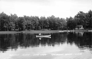 Fremont Michigan~Coburn's Place @ Long Lake~Man in Boat~People by Dock~'50s RPPC