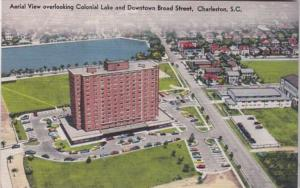 South Carolina Charleston Aerial View Overlooking Colonial Lake and Downtown ...