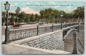 Kansas City MO~Cars on Anderson Avenue Bridge~Lamp Post by Steps Down~1914 PC