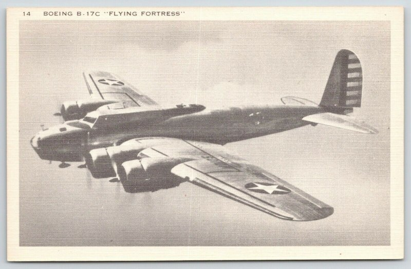 WWII Boeing B-17C~Flying Fortress~Army Air Forces Heavy Bomber in Flight~1940s