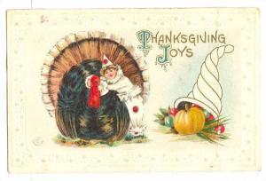 Embossed, Thanksgiving Joys, Wild Turkey,Girl petting Wild Turkey, Fruit fill...