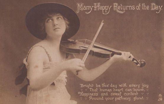 Child Playing Antique Violin Musical Instrument Happy Birthday Ww1 War Postcard Hippostcard