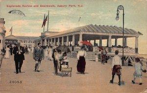 Esplanade & Boardwalk, Asbury Park, New Jersey,  Early Postcard, Used in 1917