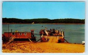 LAKE NORFORK, AR Arkansas ~ CAR FERRY across LAKE c1950s  Postcard
