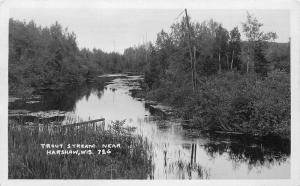 1920s Oneida County Wisconsin Trout Stream Harshaw RPPC Photo Postcard 3487