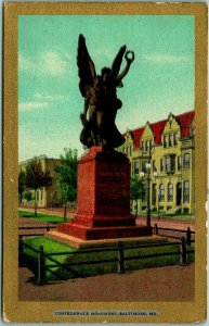 1900s Baltimore, Maryland Postcard CONFEDERATE MONUMENT Statue / Street View