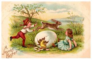 Easter ,   Victorian children, jumping rabbit