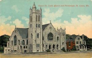 St Louis Missouri~Grace Evangelical Lutheran Church~Parsonage Next Door~1913 PC