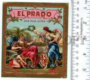 500132 EL PRADO Vintage embossed cigar box label