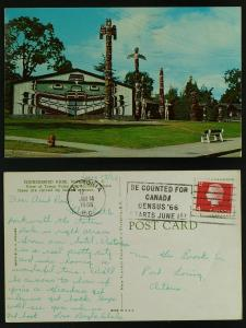 Thunderbird Park totems -Victoria BC census slogan 1966