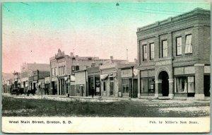 GROTON, South Dakota Postcard West Main Street Downtown Scene 1910 Cancel