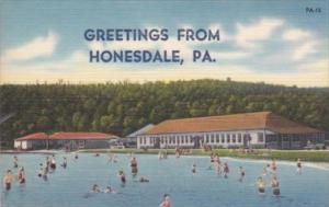 Peennsylvania Honesdale Greetings From Showing Swimming Pool