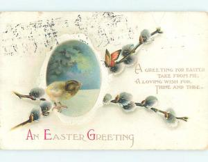 Bent 1916 Easter CHICK AND BUTTERFLY AND PUSSYWILLOWS o6514