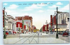 Canal Street Street Cars Trolley Trams New Orleans LA Kropp Vintage Postcard C52