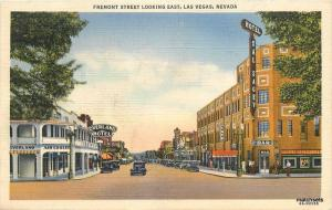 1940s Fremont Street East autos Las Vegas Nevada Teich linen postcard 5795