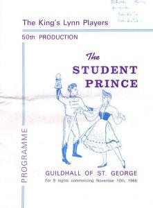 Kings Lynn Norfolk Student Prince 1966 Players Theatre Programme