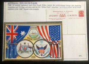 Mint Australia New South Wales Patriotic Postcard PPC Welcome Americans