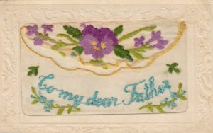 Embroidered 1914-18 ; To my Dear Father , Pansy Flower