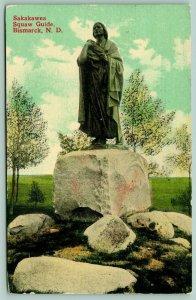 Bismarck ND~Skakawea Statue~Boulder~Indian Squaw Guide~Wonder Store Pub~1914 PC
