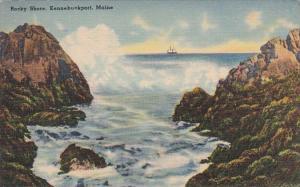Maine Kennebunkport Scene Along Rocky Shore 1940