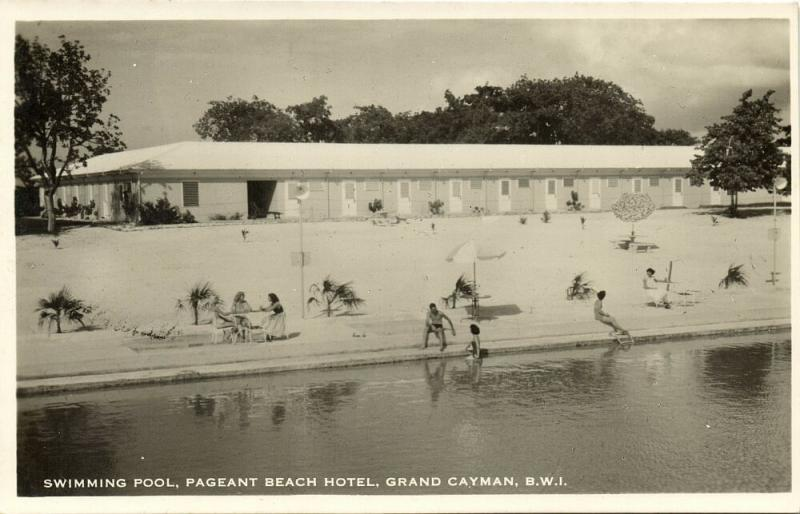 Grand Cayman B.W.I., Pageant Beach Hotel, Swimming Pool (1940s) RPPC