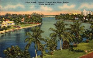 Florida Miami Beach Indian Creek Looking Toward 41st Street Bridge 1951