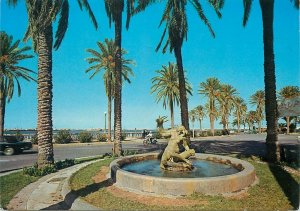 Libya Postcard Tripoli the Gazelle Fountain