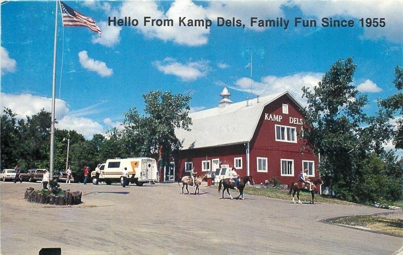Waterville Minnesota~Kamp Dels Campground~Red Barn~Horseback Riding~1960s PC