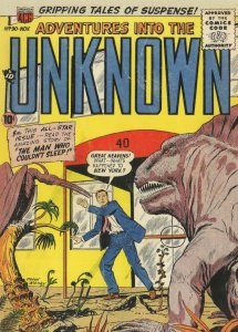 Adventures Into  The Unknown 1950s Dinosaurs Comic Book Postcard