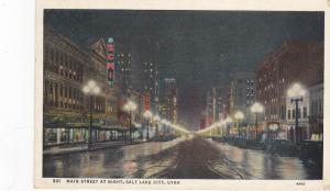 Main Street at Night , SALT LAKE CITY , Utah ; PU-1937