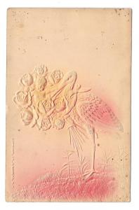 Birth Stork with Baby in Rose Bouquet Embossed Postcard