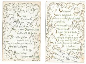 Birth Announcement and Congratulations Cherubs 2 Postcards