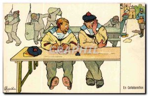 Sailor-Fantasy-Humor-Bateau Collaboration -Carte Postale Ancienne Illustrator...