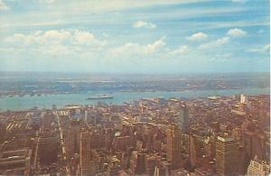 New York City Skyline Queen Elizabeth in Hudson River 1960s Postcard