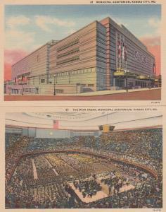 (2 cards) Municipal Auditorium Inside and Out - Kansas City MO, Missouri - Linen