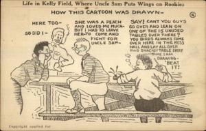 Kelly Field San Antonio TX Military Comic Soldiers Postcard