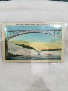 Antique Postcard General View and Rainbow Bridge, Niagara Falls