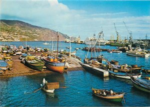 Portugal Postcard Madeira Funchal port image rowing boats ships vessels