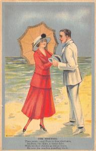 Artist~The Meeting~Couple Meet on Sandy Beach~Seashells~Henry Heininger~1916