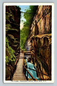 White Mountains NH-New Hampshire Bridge In The Flume, Franconia Vintage Postcard