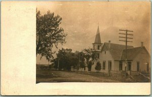 Vintage RPPC Photo Postcard Church Building / Street View w/ 1908 KANSAS Cancel