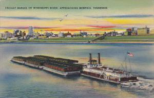 Tennessee Memphis Freight Barges On Mississippi River 1944