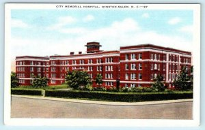 WINSTON-SALEM, North Carolina NC ~ CITY MEMORIAL HOSPITAL c1940s Linen  Postcard