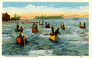 MI - Sault Ste. Marie. Indians Fishing in the Rapids
