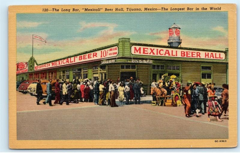 1953 Long Bar Mexicali Beer Hall Tijuana Mexico Longest Bar Vintage Postcard C54