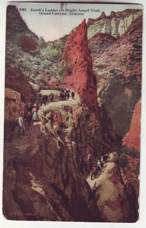 P646 JLs 1915 grand canyon bright angel trail people mules arizona