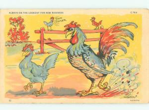 Linen Comic signed ROOSTER CHASING AFTER CHICKEN HEN AC0115