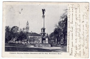 Worcester, Mass, Common Showing Soldiers' Monument and City Hall