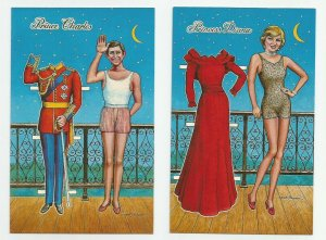 2 POSTCARDS Princess Diana Prince Charles PaperDolls Crescent Moon ~Strader 1983