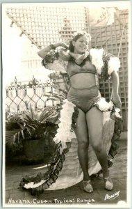 1930s Havana CUBA Real Photo RPPC Postcard Typical Rumba Dancer  *Trimmed